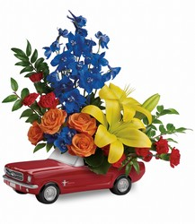 Living The Dream '65 Ford Mustang  from Mona's Floral Creations, local florist in Tampa, FL